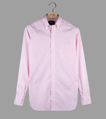 Pink Butchers Stripe Cotton Poplin Button-Down Shirt