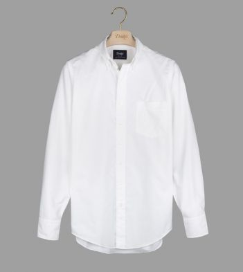 White Oxford Regular Fit Shirt with Button Down Collar