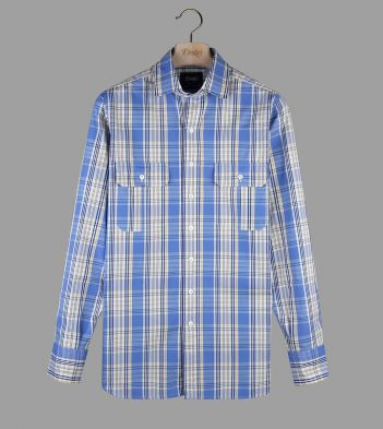 Blue and Yellow Check Poplin Two-Pocket Work Shirt
