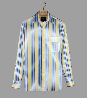 Blue, Yellow and Teal Multi-Stripe Poplin Long Point Collar Shirt