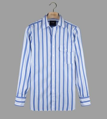Sky Blue Wide Stripe Poplin Long Point Collar Shirt