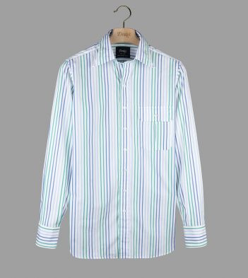 Green and Blue Narrow Stripe Poplin Long Point Collar Shirt