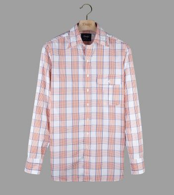 Pale Red and Blue Check Poplin Long Point Collar Shirt