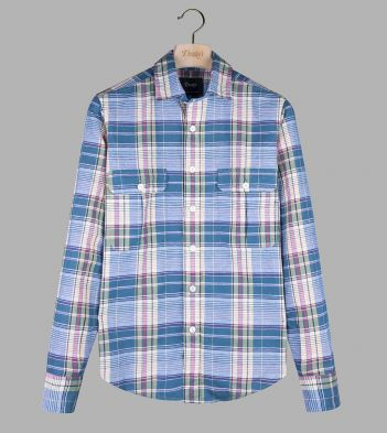 Pink and Blue Check Linen-Cotton Two-Pocket Work Shirt