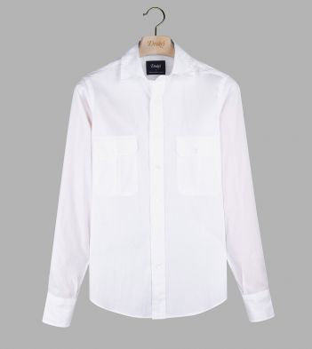White Fine Cotton Two-Pocket Work Shirt