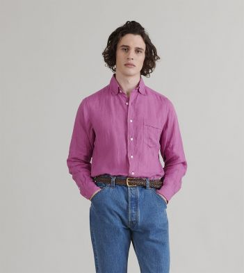 Bright Pink Japanese Linen Spread Collar Shirt