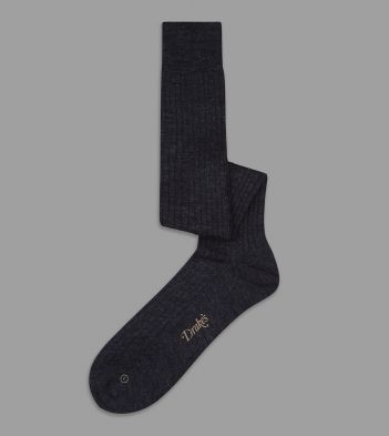 Dark Grey Wool Over-the-Calf Socks