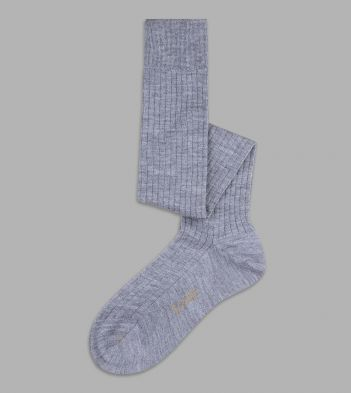 Light Grey Wool Over-the-Calf Socks
