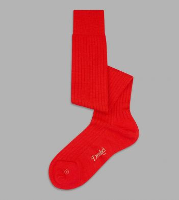 Red Wool Over-the-Calf Socks