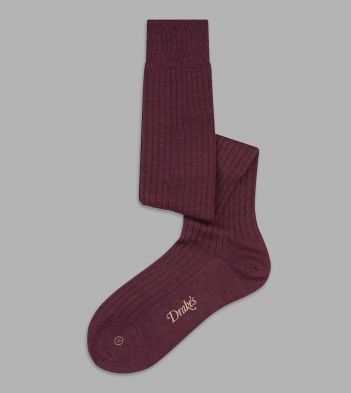 Wine Wool Over-the-Calf Socks