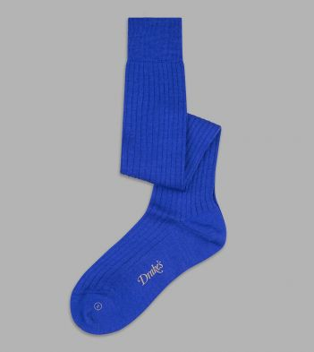 Royal Blue Wool Over-the-Calf Socks