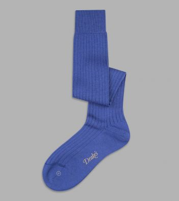 Blue Wool Over-the-Calf Socks