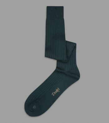 Forest Green Wool Over-the-Calf Socks