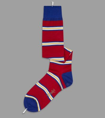 Red, Yellow and Blue Multi Stripe Wool Over-the-Calf Socks