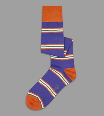 Purple, Orange and Green Multi Stripe Wool Over-the-Calf Socks