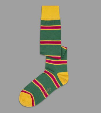Green, Red and Yellow Multi Stripe Wool Over-the-Calf Socks