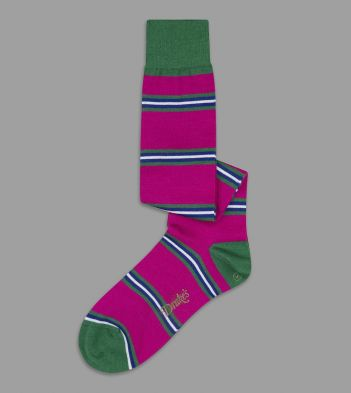 Pink, Green and Blue Multi Stripe Wool Over-the-Calf Socks