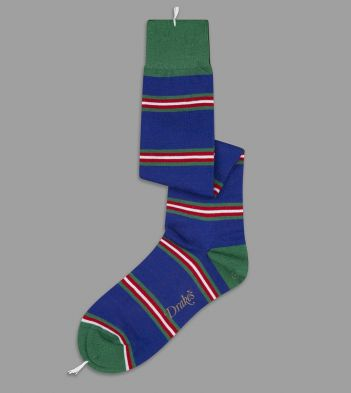 Blue, Green and Red Multi Stripe Wool Over-the-Calf Socks