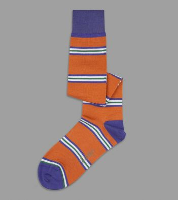 Orange, Purple and Green Multi Stripe Wool Over-the-Calf Socks