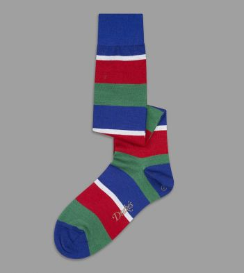 Blue, Green and Red Wide Stripe Wool Over-the-Calf Socks