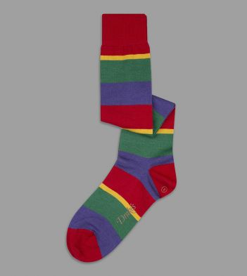 Red, Purple and Green Wide Stripe Wool Over-the-Calf Socks