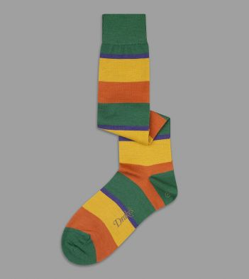 Green, Orange and Yellow Wide Stripe Wool Over-the-Calf Socks