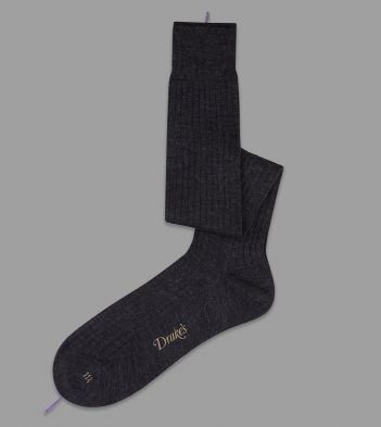Charcoal Over-the-Calf Wool Socks