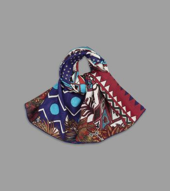"Edouard Baribeaud for Drake's Blue and Red ""Shangri-La"" Print Wool-Silk Square Scarf"