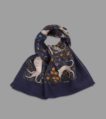 Navy Unicorn Print Wool-Silk Square Scarf