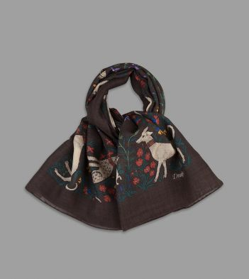 Brown Unicorn Print Wool-Silk Square Scarf