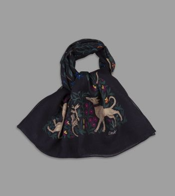 Black Unicorn Print Wool-Silk Square Scarf