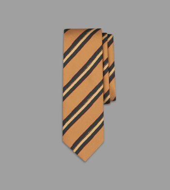 Aimé Leon Dore for Drake's Orange and Green Painted Stripe Silk Tie
