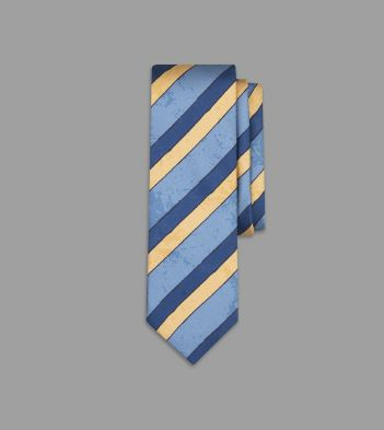 Aimé Leon Dore for Drake's Blue and Cream Painted Stripe Silk Tie