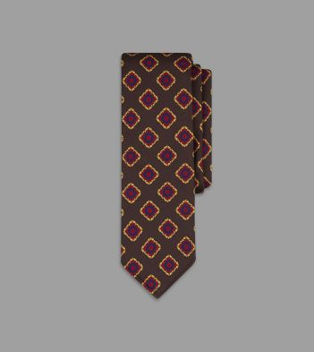 Brown Floral Tile Print 36oz Madder Silk Tie