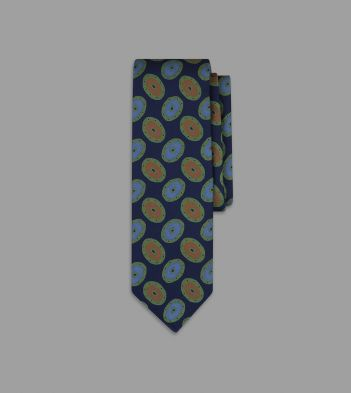 Navy and Green Painted Oval Print 36oz Madder Silk Tie