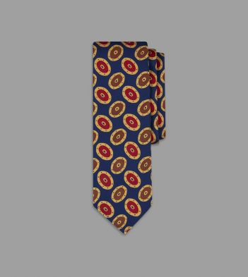 Navy and Yellow Painted Oval Print 36oz Madder Silk Tie