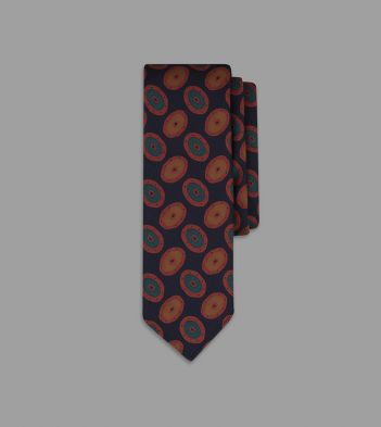 Navy and Red Painted Oval Print 36oz Madder Silk Tie