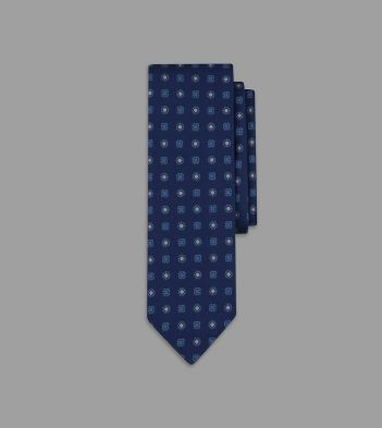 Blue Mini Floral Print 36oz Madder Silk Tie