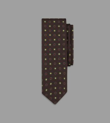 Brown Mini Floral Print 36oz Madder Silk Tie
