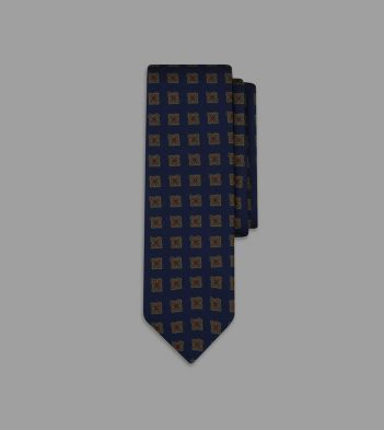 Navy Ornate Medallion Print 36oz Madder Silk Tie