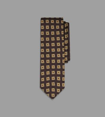 Brown Ornate Medallion Print 36oz Madder Silk Tie