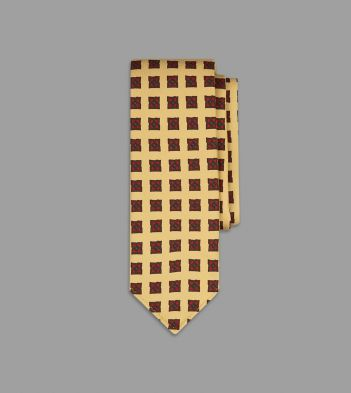Yellow Ornate Medallion Print 36oz Madder Silk Tie