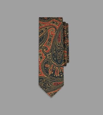 Red and Green Intricate Paisley Print Silk Tie