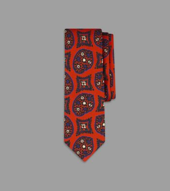 Red Freehand Paisley Pine Print Silk Tie