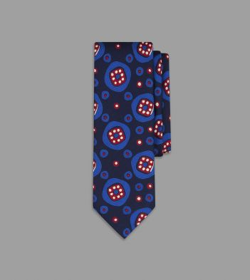 Navy and Blue Jazzy Geometric Print Silk Tie