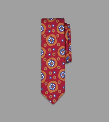 Red and Orange Jazzy Geometric Print Silk Tie