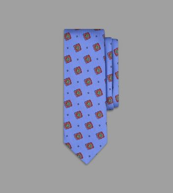 Blue and Red Eye Medallion Print Silk Tie