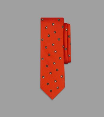Red and Green Leafy Flower Print Silk Tie