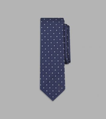 Navy and White Embroidered Spot Motif Silk Tie
