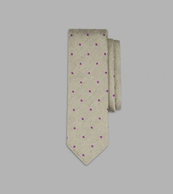 Olive and Purple Embroidered Spot Motif Silk Tie